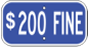 $200 handicap fine sign