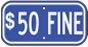 $50 Fine plaque - White lettering on blue