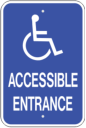 General ACCESS ENTRANCE wheelchair insignia handicap sign for ADA compliancy