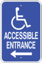 accessible handicap entrance sign - left directional handicap ramp access sign