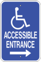 accessible handicap entrance sign - right directional blue and white ADA ramp access sign