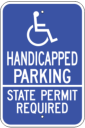 handicapped parking permit required parking sign state permit required - ADA blue and white on aluminum