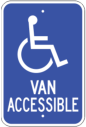 van accessible handicap entrance sign - ada blue and white signage