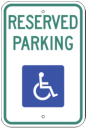 reserved handicapped parking single space sign