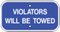 violators will be towed blue and white ADA sign