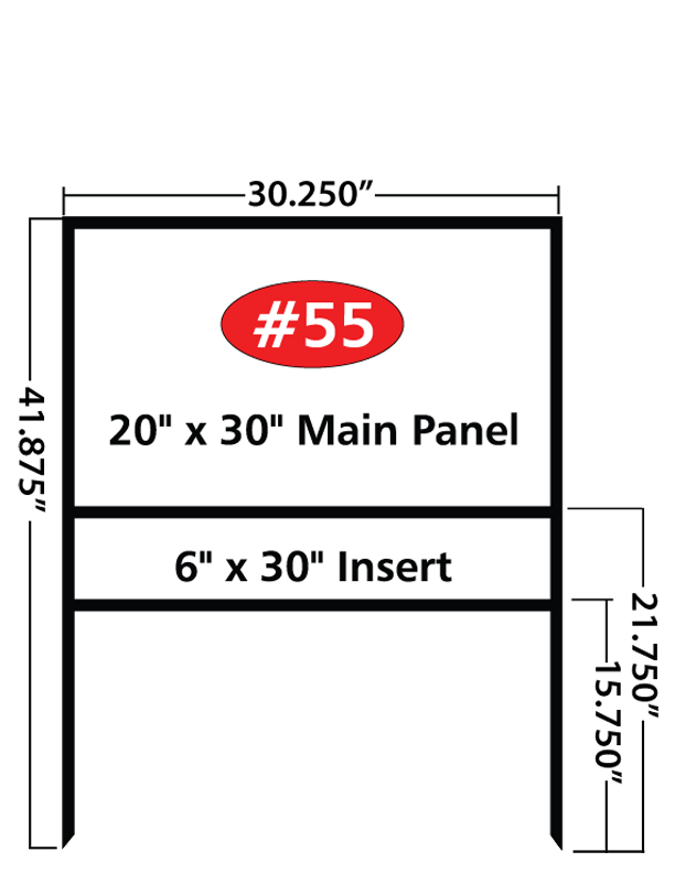 20x30 in. Main Panel with 6x30 in. Bottom Rider