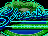 Shade Restaurant Blue and Green Neon Sign with Printed Sign Background by Custom Sign Center of Columbus Ohio
