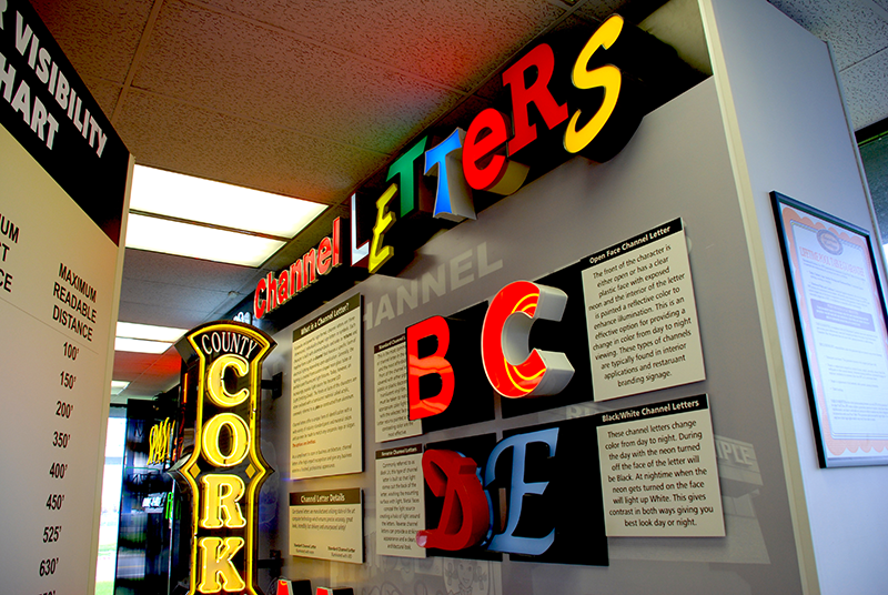 super sign showroom channel letter samples