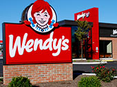 Wendy's Ground Sign with Brick Base
