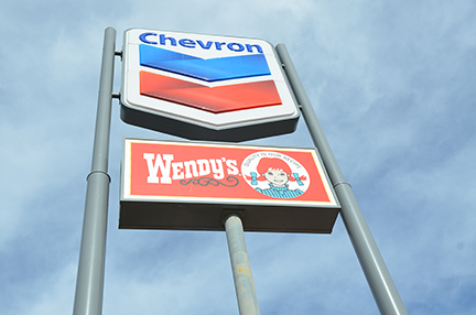 Wendy's / Chevron Double Pole Sign