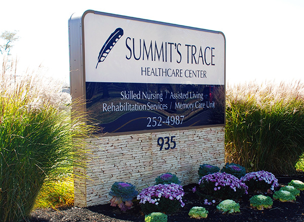 Summit's Trace Healthcar Stacked Stone Look Monument Ground Sign