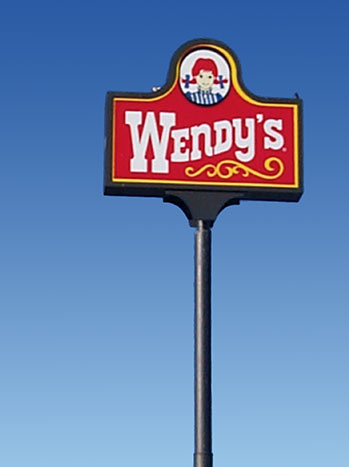 Wendys Restaurant Pylon Sign