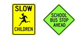 school signs, slow children, bus stop ahead, school zone crossing