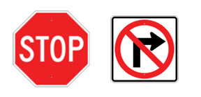 traffic signs, no right turn, stop signs, etc