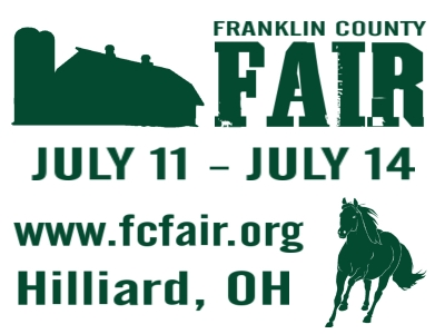 City specific county fair yard sign with pictures of a horse and barn