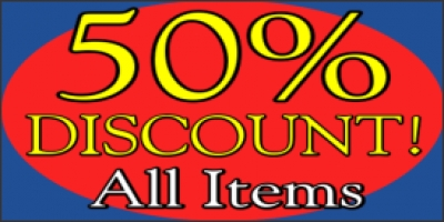 50% Discount on All Items Banner