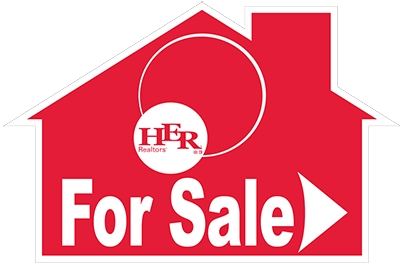 "HER Real Living 12"" x 18"" House Shaped Directional (For Sale)"