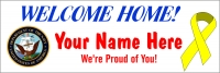 2' x 6' Navy Welcome Home Banner