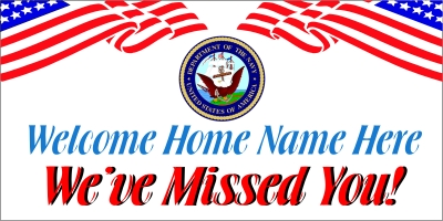 Custom Navy Welcome Home Banner