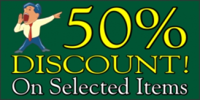 50% Discount On Selected Items Banner with image of man yelling