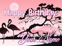 Happy Tropical Flamingo Birthday