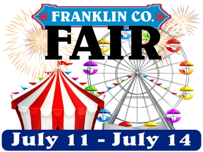 County Fair Yard Sign with ferris wheel, tent and fireworks