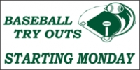 Baseball Tryouts Banner