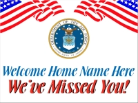 Air Force Welcome Home Yard Sign with flags and seal of the Air Force