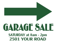 Garage Sale Yard Sign | White w/Green Arrow