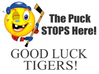 Hockey Good Luck Yard Sign Template with an image of beat up hockey player