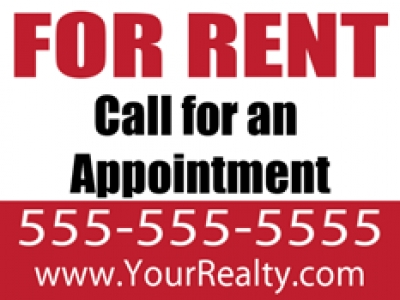 "Real Estate For Rent 18""x24"" Double-Sided Call For Appointment Sign"