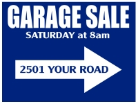 Garage Sale Yard Sign | Blue w/Arrow