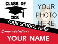 Deluxe Graduation Yard Sign with year graduated as background plus diploma and cap image