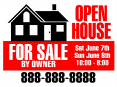 "Real Estate 18""x24"" Double-Sided Open House For Sale by Owner Sign"