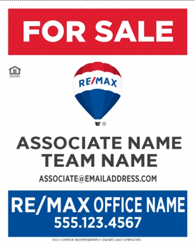 "RE/MAX Vertical Office Prominent with Associate and Team Names (office name 2"" associate name 1.75"")"