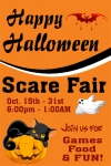 Portrait Window Halloween Scare Fair Banner