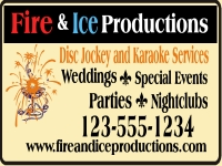 Disc Jockey and karaoke services yard sign template with list of event types